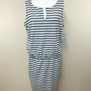 Athleta Linen Blend Vida Black White Stripe Dress